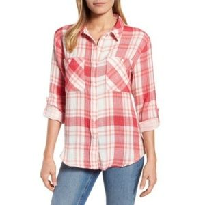 Sanctuary NWT Plaid Tomboy Shirt Red & Light Blue